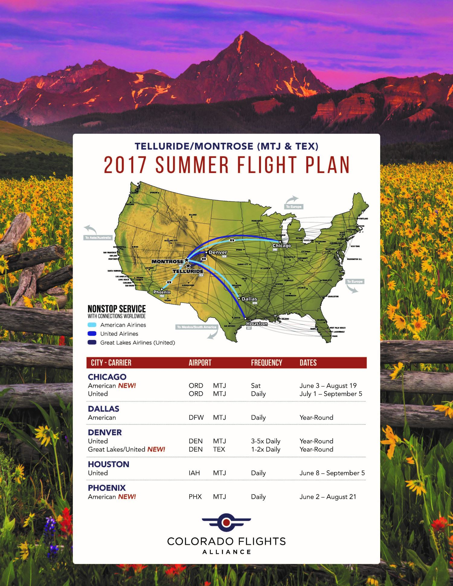 2017 Summer Flight Schedule