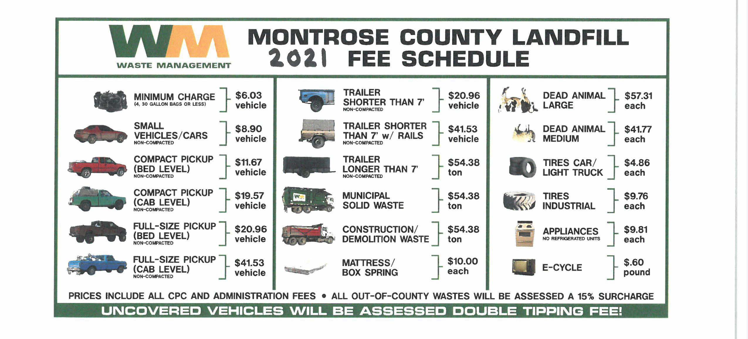 2021 Landfill Fee Schedule